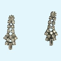 Vintage White Faux Diamond Rhinestone Pierced Earrings