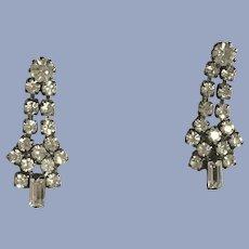 Vintage White Faux Diamond Rhinestone Pierced Earrings