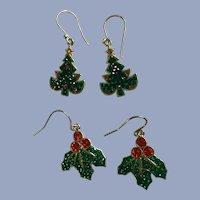 Sparkle Rhinestone Christmas Fishhook Pierced Earrings