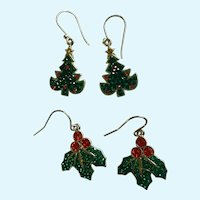 Sparkle Rhinestone Christmas Fishhook Pierced Earrings