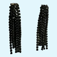 Dangling Black Rhinestone Link Clip-On Earrings