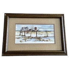 Old Homestead In Snow-covered Landscape Watercolor Painting