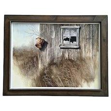 Larry Greenwalt Abandoned Farm Bucket Southwestern Western Watercolor Painting Signed
