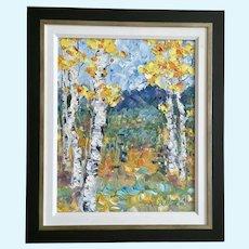 Judith Babcock, Aspen Trees Impasto Oil Painting