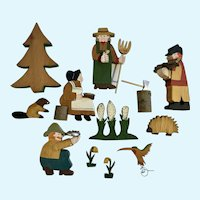 Folk Art Wood Pioneer Family Hand Painted Cutout Figures