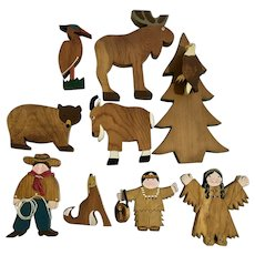 Folk Art Cowboy and Indians In Wilderness Wood Cutout Figures