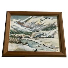 Mountain River Vally With Rural Town Mixed Media Painting 1979