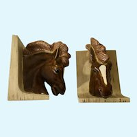Horse Head Bookends Ceramic Hand Painted 1981