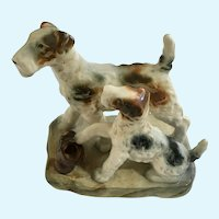 Occupied Japan Schnauzer Dogs Figurine Maruto Mu Ware