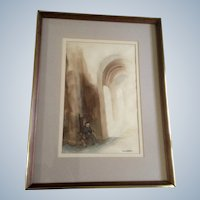 M. A. Koepke, Monk in Cathedral Watercolor Painting Signed by Artist