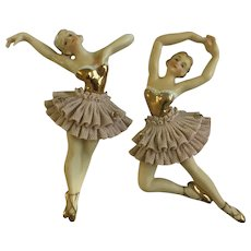 Vintage Norcrest Ballerina Dancers Wall Plaques With Lace