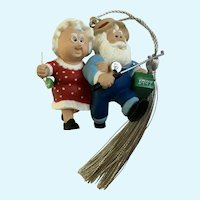Hallmark Santa & Mrs. Claus Fishing Christmas Tree Ornament 1997