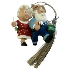 Hallmark Santa & Mrs. Claus Fishing Christmas Tree Ornament 1997