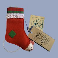 Annalee Christmas Stocking with Mouse Ornament