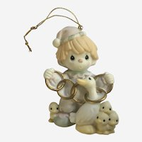 Precious Moments Twelve Days of Christmas 5 Golden Rings Ceramic Ornament