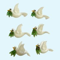 Six Christmas Peace Doves Glass Hand Blown Magnets