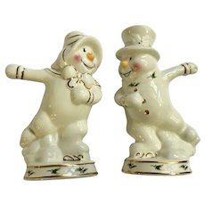 Ice Skating Mr. and Mrs. Snowman Salt and Pepper Shakers