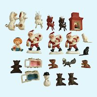 Mid-Century Miniature Christmas Plastic and Wood Figurines