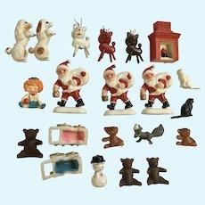 Mid-Century Miniature Christmas Plastic and Wood Figurines