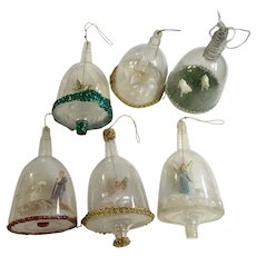 Vintage Christmas Ornaments Hand Crafted Diorama Bell Domes