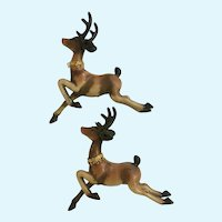 Mid-Century Christmas Brown Reindeer Plastic Deer Figures
