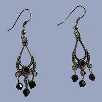 Silver-Tone Teardrop Earrings With Black Dangling Beads