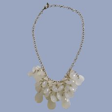 Dangling Cluster of Faux Clouded Opal Beaded Necklace