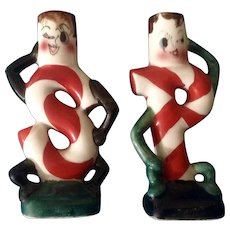 Vintage Anthropomorphic Figural Candy Cane Salt & Pepper Shakers Japan Mid-Century