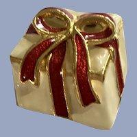 Christmas Present Brooch with Ribbon Enamel Pin