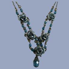 Metallic Blue Rose Choker Necklace Avon