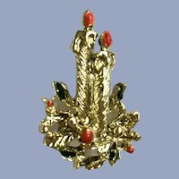Vintage Christmas Gold-tone Candle Brooch Pin