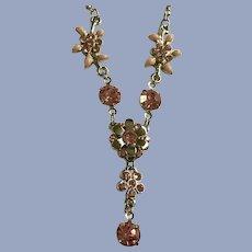 Sparkling Pink Rhinestone Flower Necklace