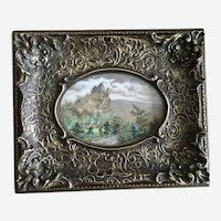 Castle on a Hill Antique Oval Watercolor Painting