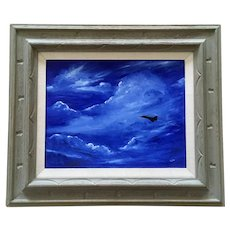 Mackie (Sue) Ruth, Silhouette Jet Aircraft Plane in Sky Oil Painting