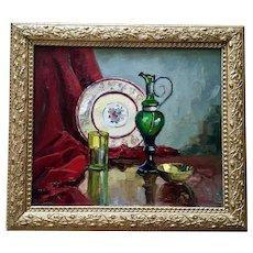 Carolus Verhaeven Table Still Life Oil Painting California Listed Artist