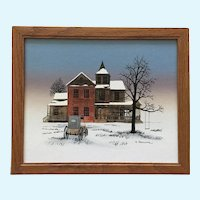 H Hargrove, Carriage in Front of House Folk Art Serigraph