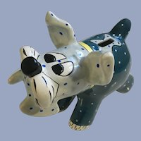 Ganz Blue Dog Bank Hand Painted Ceramic Signed Pati