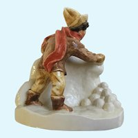 Sebastian Miniatures Figurine Snowball Fight Hudson Massachusetts