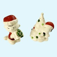 Snoopy and Charlie Brown Christmas Salt and Pepper Shakers Lenox