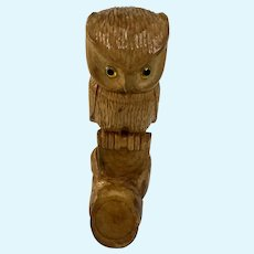 Eugene Cole, Carved Wooden Owl Figurine on Perch