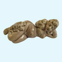 Nude Woman with Puppies Salt & Pepper Shakers Mid-Century