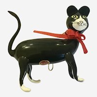 Glass Christmas Standing Kitty Cat De Carlini Italy Hand Blown Ornament