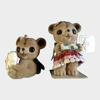 Josef Originals Anthropomorphic Fuzzy Bears Japan Vintage Figurines Original Tag and Foil Seal