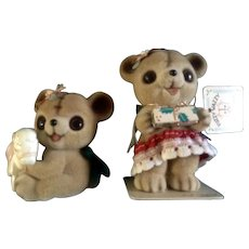 Josef Originals Anthropomorphic Fuzzy Bears Japan Vintage Figurines Original Tag and Foil Seal