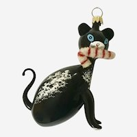 Glass Christmas Cat With Candy Cane De Carlini Italy Hand Blown Ornament