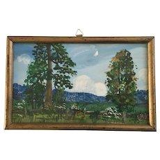 1930's-1940's Garden Landscape Watercolor Painting
