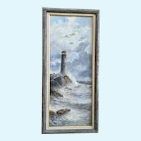 Lighthouse on a Rocky Shore Oil Painting