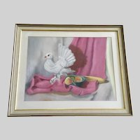 E E Watson, Dove and Fruit Still Life Pastel Painting