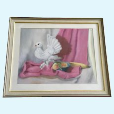 E E Watson, Dove and Fruit Still Life Pastel Painting