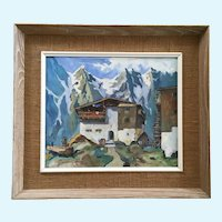 Fritz Bladel, German Alps Home on Hill Oil Painting